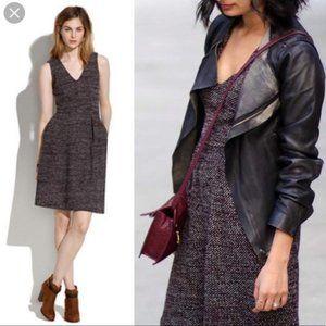 Madewell Terrace Dress Maroon Marled Tweed Knit